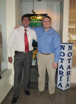 Juan and Jonathan after visiting the notary to hand over more of VBPS SRL to Juan