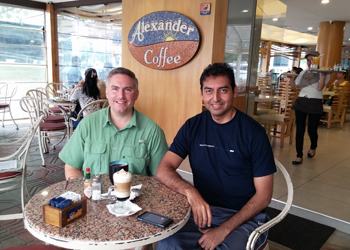 Jonathan and Juan Jose enjoying some coffee in Santa Cruz